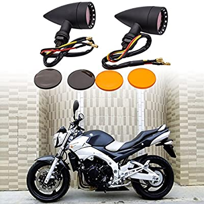 KATUR Motorcycle Black Bullet Front Rear Turn Signal Fog Light Indicators Stop Light for Harley Motorcycle Cruiser Chopper Bobber: Automotive