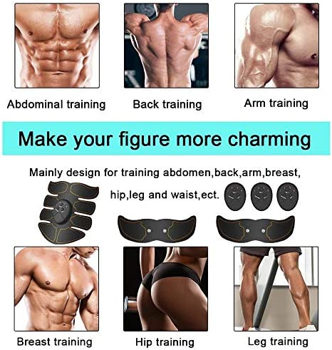 Abs Stimulator - Automatic Fitness System - Portable Fitness Workout Equipment - Home Office Exercise for Men Women with 12 Extra Gel Pads 2