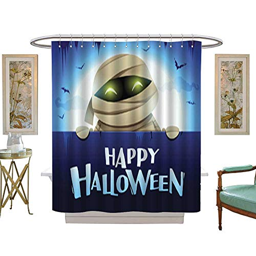 Iuvolux Shower CurtainHappy Halloween Mummy with Big Signboard in The Moonlight Textile Bathroom Decoration Decor W60 x H72 Inch -