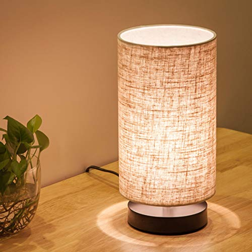 Lifeholder Table Lamp, Bedside Nightstand Lamp, Simple Desk Lamp, Fabric Wooden Table Lamp for Bedroom Living Room Office Study, Cylinder ()