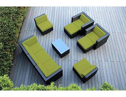 Ohana 10-Piece Outdoor Patio Furniture Sectional Conversation Set, Black Wicker with Peridot Cushions - No Assembly with Free Patio Cover - Peridot Signature Collection