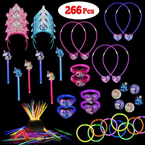 LaRibbons Glow Sticks Unicorn Pack,266Pcs Glow Stick for Kids Birthday Party Favors Toys -