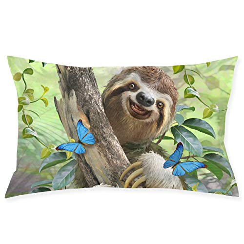 Mintslove Funny Pillow Case, Cute Sloth Natural Life Pillowcase, Rectangle Zippered Pillow Cases - Pillow Protector Cover Case - Standard Size 20
