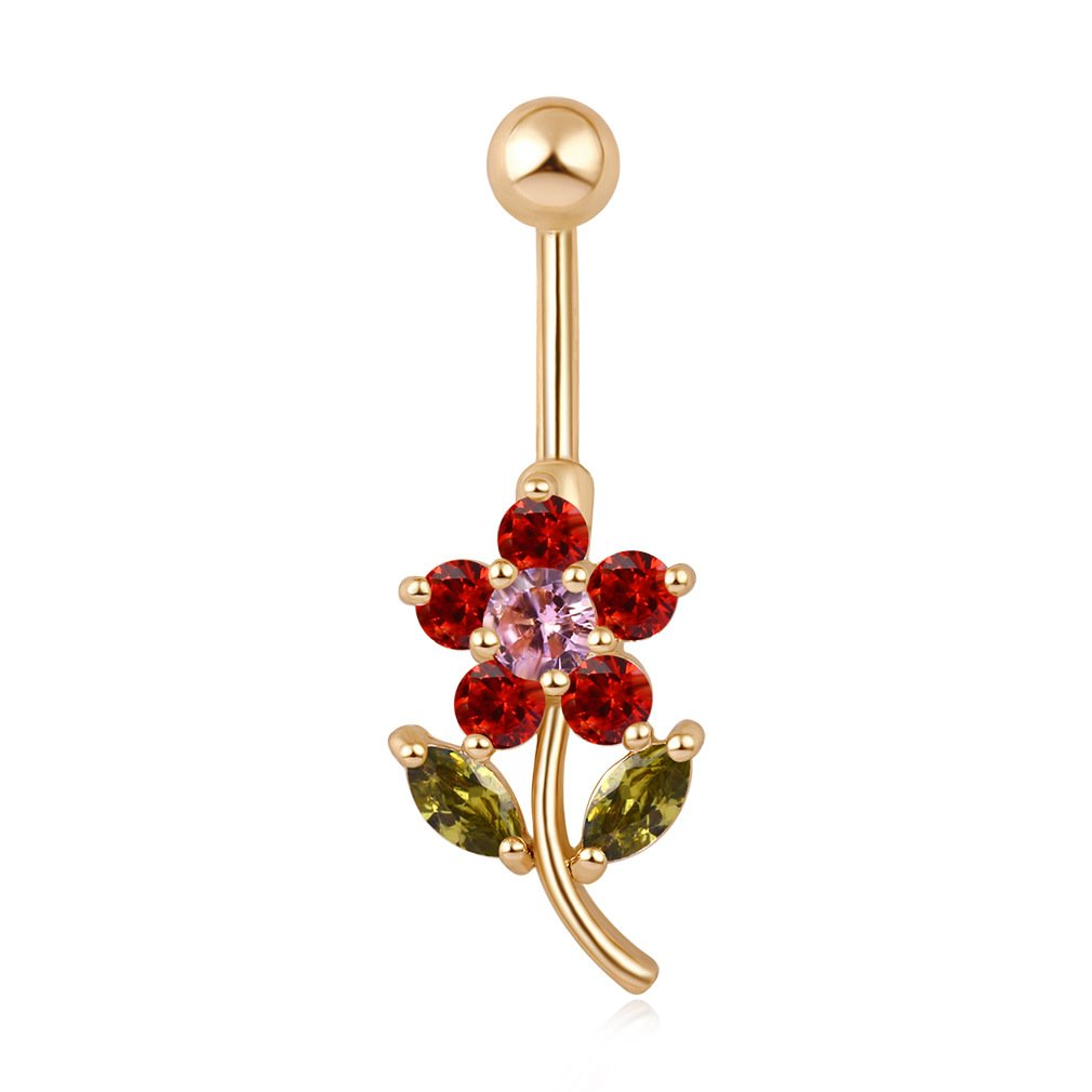 Fashion Body Jewelry 14G Stainless Steel Gold Red Flower Cubic Zirconia Navel Bars/ Belly Button Ring for Women Body Piercing