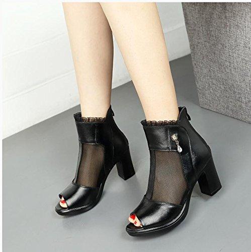 High 7 Perforación Zapatos Nueva Hilo De De Negro 38 Chica 39 Cuero De 5Cm De Verano Sandalias KHSKX Agua Flores Los La De Heeled Net a4OPFP