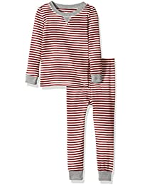 100% Organic Cotton 2-Piece Holiday Pajama Set, Cranberry Candy Cane Stripe, 12 Months