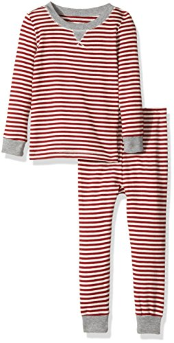 Burt's Bees Baby Infant 100% Organic Cotton 2-Piece Holiday Pajama Set, Cranberry Candy Cane Stripe, 12 (Adult Candy Stripe)