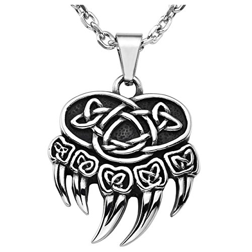 - Jovivi Retro Stainless Steel Nordic Celtic Knot Bear Paw Claw Pendant Necklace, Silver Black, with Gift Box