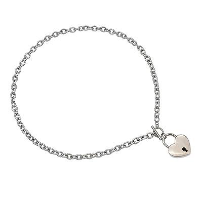 Amazon heart lock pendant chain choker unisex stainless steel heart lock pendant chain choker unisex stainless steel collar necklace punk gift aloadofball Images