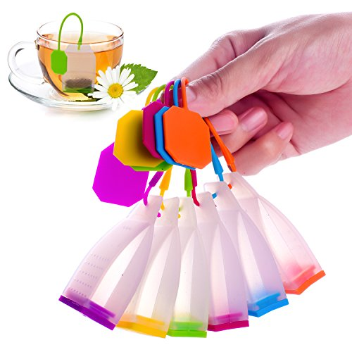 Loose Tea Accessories - ME.FANTM Silicone Reusable Tea Bag Candy Silicone Tea Infuser Strainer Set - Genuine Premium Loose Leaf Infuser Set In Bright Colors (6 Set) - Best Gift in Home Or Offices