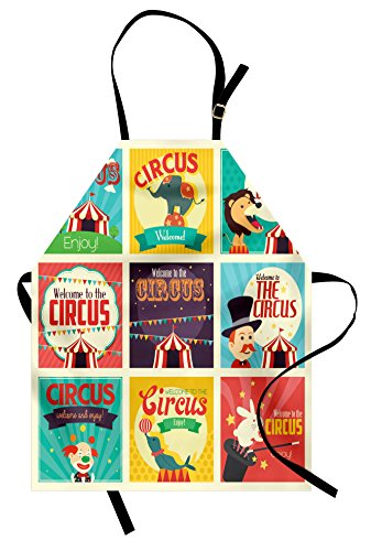 Ambesonne Circus Apron, Composition of Old Circus Icons Carnival Magicians Old Fashioned Nostalgic Festive, Unisex Kitchen Bib Apron with Adjustable Neck for Cooking Baking Gardening, Green Yellow]()