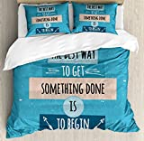 Motivational Queen Size Duvet Cover Set by Ambesonne, Philosophical Life Message to Raise Faith in Yourself and Your Strength, Decorative 3 Piece Bedding Set with 2 Pillow Shams, Blue Peach Black