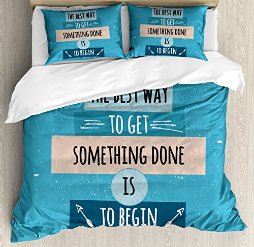 Motivational Queen Size Duvet Cover Set by Ambesonne, Philosophical Life Message to Raise Faith in Yourself and Your Strength, Decorative 3 Piece Bedding Set with 2 Pillow Shams, Blue Peach Black by Ambesonne