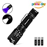 morpilot 2 in 1 LED Torch, Tactical Flashlight & UV Torch Blacklight Urine Detector - CREE LED Adjustable Focus 500 Lumens 4 Modes Zoomable Pocket Torches with 395NM Ultraviolet Black