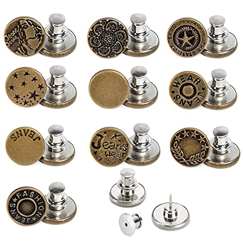 J.CARP 10 PCS 17mm Upgraded Button Pins for Jeans, Instant Buttons, Perfect Fit Jean Button Replacement, Adjustable Jean Button Pins Metal Clips Snap Tack (Style2)