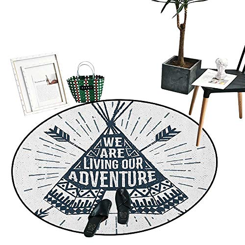 Adventure Round Rug Kid Carpet Teepee Crossed Arrows We are Living Our Adventure Inspirational Quote Indoor/Outdoor Round Area Rug (24
