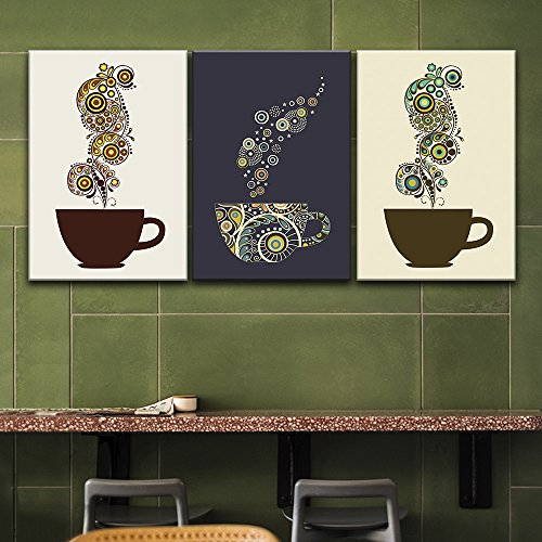 3 Panel Coffee Cups with Abstract Floral Patterns x 3 Panels