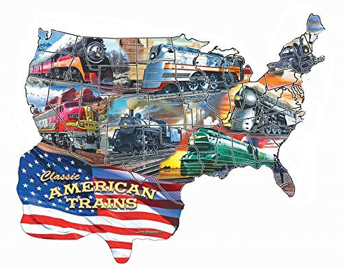 S TRAINS & RAILROAD JIGSAW PUZZLE - Classic American Trains - features Boston & Maine, New York Central, PRR, Milwaukee Hiawatha, Southern Pacific Daylight & Santa Fe - 600 pc.