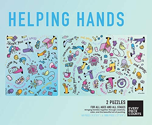 6513 by Every Piece Counts TCG Toys Helping Hands 1000 Piece Adult Puzzle and 48 Piece Kids Puzzle Matching Jigsaw Puzzles