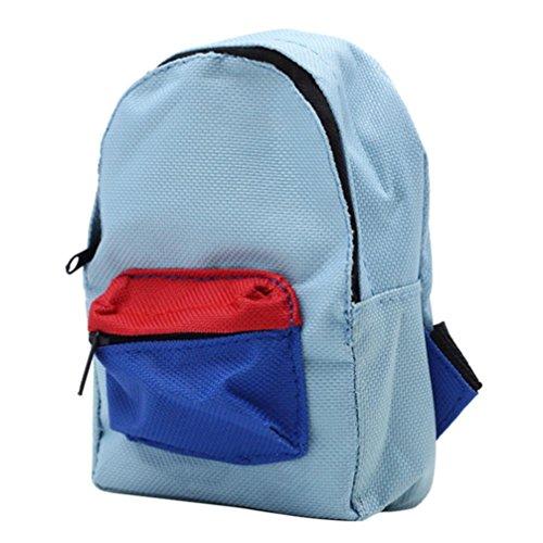 PrettyW Double Straps Backpack Schoolbag for 18'' American Girl & Boy Dolls (Blue)