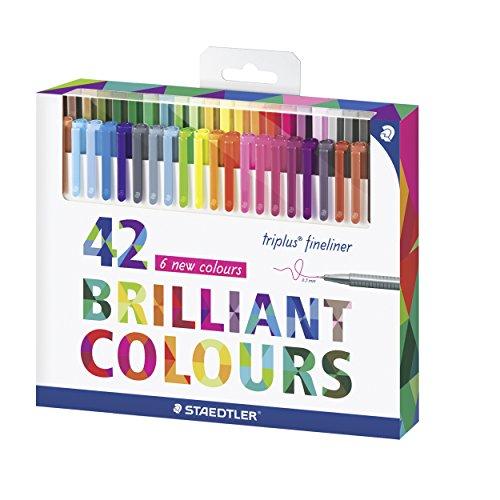 Staedtler 334 C42 triplus Fineliner Set mit 42 sortierten Farben Ergonomische Dreikantform, Schreiben, Malen und Zeichnen