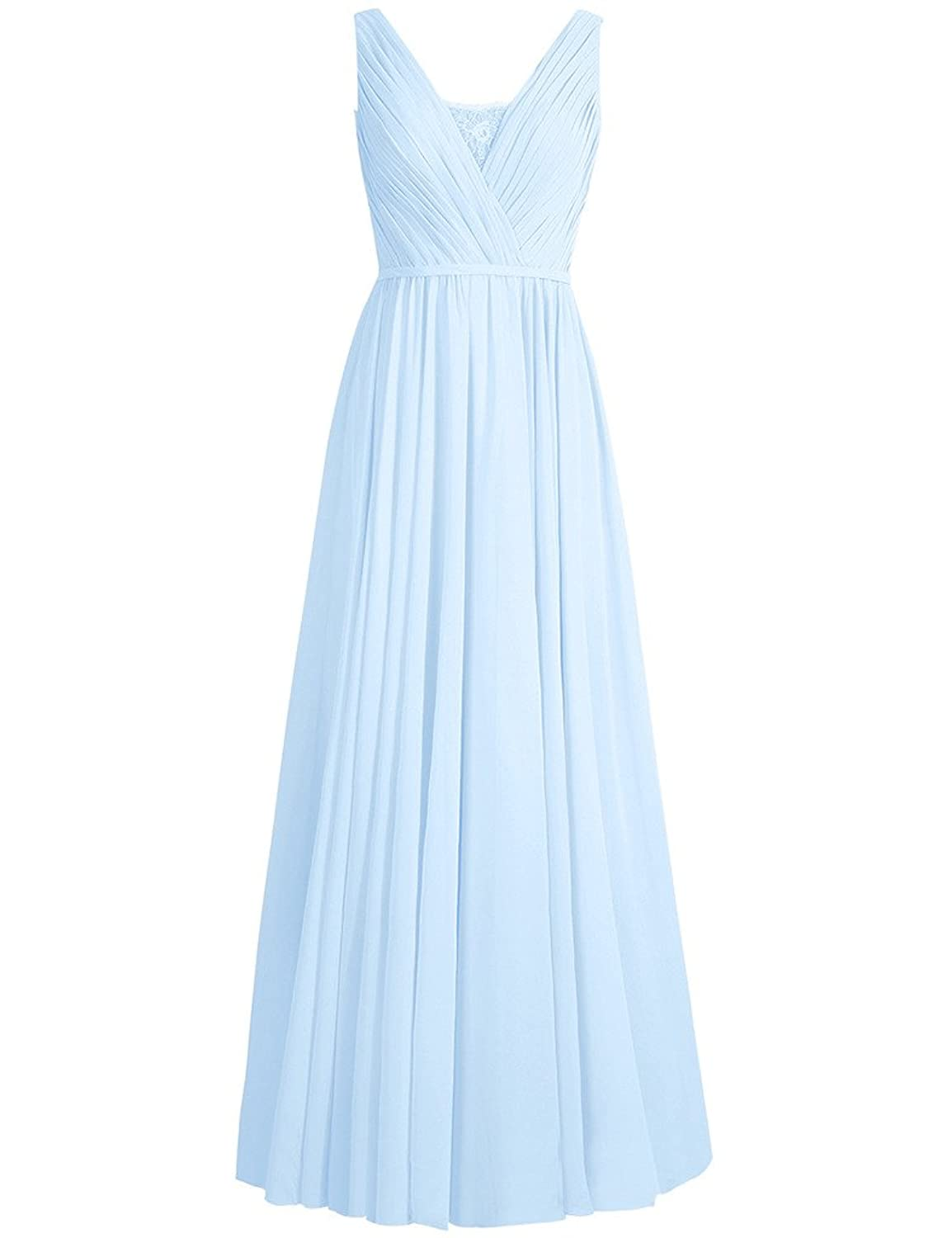 HUINI Lace Sheer V-Neck Long Chiffon Bridesmaid Prom Dresses Party Formal Gowns UK24W