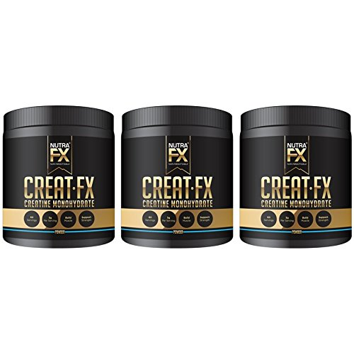 NutraFX Micronized Creatine Monohydrate Powder All Natural Pre Workout Energy Boost and Muscle Building Supplements (300g - 60 Servings) (3-Pack) -