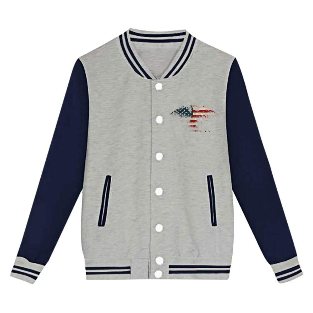 Youth//Kids Eagle USA Flag Letterman Jacket Varsity Baseball Bomber Cotton Jacket