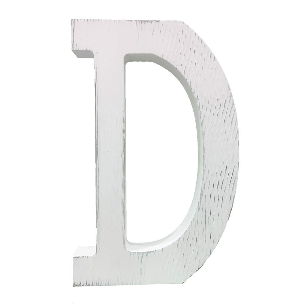 Extra Large Wood Decor Letters Wood Distressed White Letters DIY Block Words Sign Alphabet Free Standing Hanging for Home Bedroom Office Wedding Party (D)