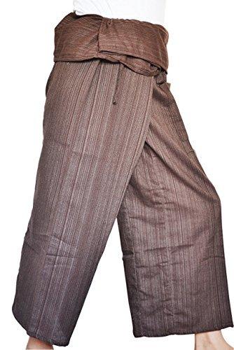 Thai Fisherman Pants Yoga Trousers Free Size Cotton Dark Brown By Bjelly