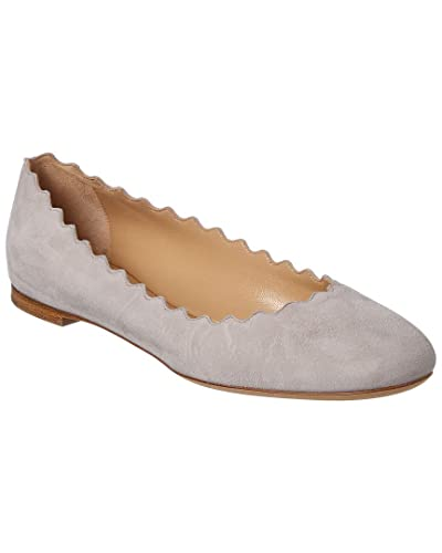 280cb0c8fb6 Image Unavailable. Image not available for. Color  Chloe Lauren Scalloped  Suede Ballerina Flat ...