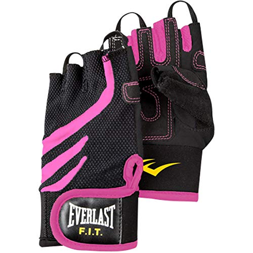 Everlast P00000712 FIT Weightlifting Gloves W/Wrist Support Black/Pink S/M