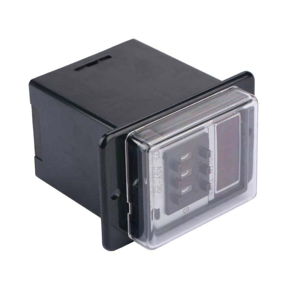 Relais LCD num/érique Relais temporisateur Relais temporis/é 0-999S Retardateur /électrique PVC anti-flammes 220VDC ASY-3D Relais temporis/é