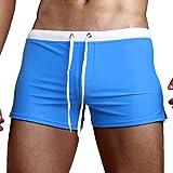 #9: Aucou Men's Swim Trunks Briefs Board Shorts Swimwear with Zipper Pocket