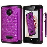 Microsoft Lumia 435 Case, Style4U Studded Rhinestone Crystal Bling Hybrid Armor Case Cover for Microsoft Lumia 435 with 1 Stylus [Purple / Black]