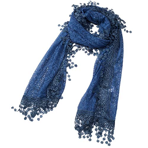 Cindy and Wendy Lightweight Soft Leaf Lace Fringes Scarf shawl for Women (Denim Blue-2)