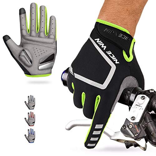 - Cycling Gloves Motorcycle Bike Mountain-Padded Road Bicycle Men Women Antiskid Touch Screen Yellow L