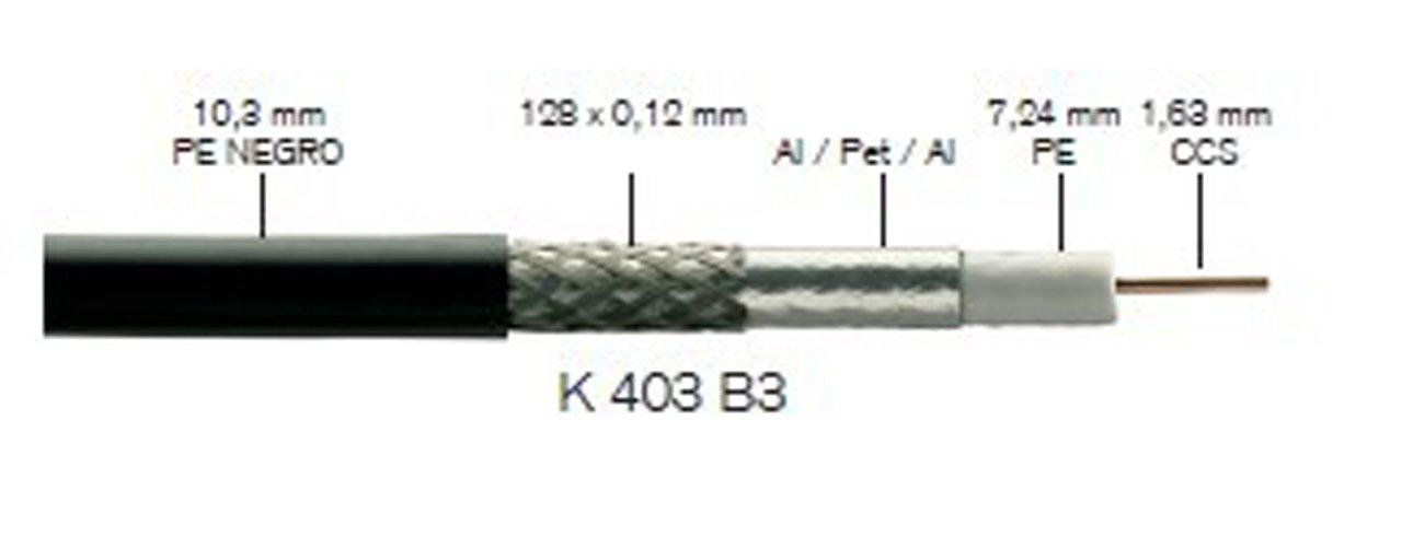 Fte-maximal k 403 b3 - Cable coaxial 750h diámetro 4,6 k403b3 polietileno negro: Amazon.es: Bricolaje y herramientas