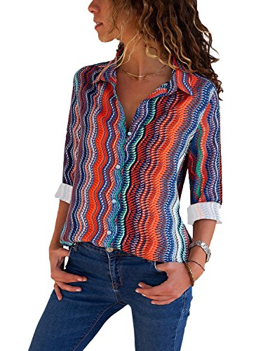 GRAPENT Women's Long Sleeve V Neck Stripe Shirt Casual Color Block Buttons Tops Blouse X-Large (US 16-18)