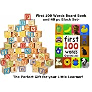 Necessary Things Co Toys Building Block Set and First 100 Words Book Bundle for Toddlers- 40 PC Wooden Alphabet Block Set and First Words Toddler Book Set for Toddlers 1, 2, or 3 Year olds!