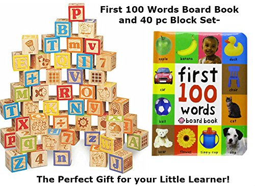 Necessary Things Co Toys Building Block Set and First 100 Words Book Bundle for Toddlers- 40 PC Wooden Alphabet Block Set and First Words Toddler Book Set for Toddlers 1, 2, or 3 Year olds! ()