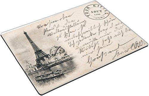 (MSD Place Mat Non-Slip Natural Rubber Desk Pads Design: 29541721 Rare Vintage Postcard with Eiffel Tower in Paris France Circa 1900)