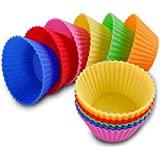 Royalstm Silicone 12 Pcs Round Moulds For Muffins / Cupcake / Jelly / Cake (Single Color / Random Color)