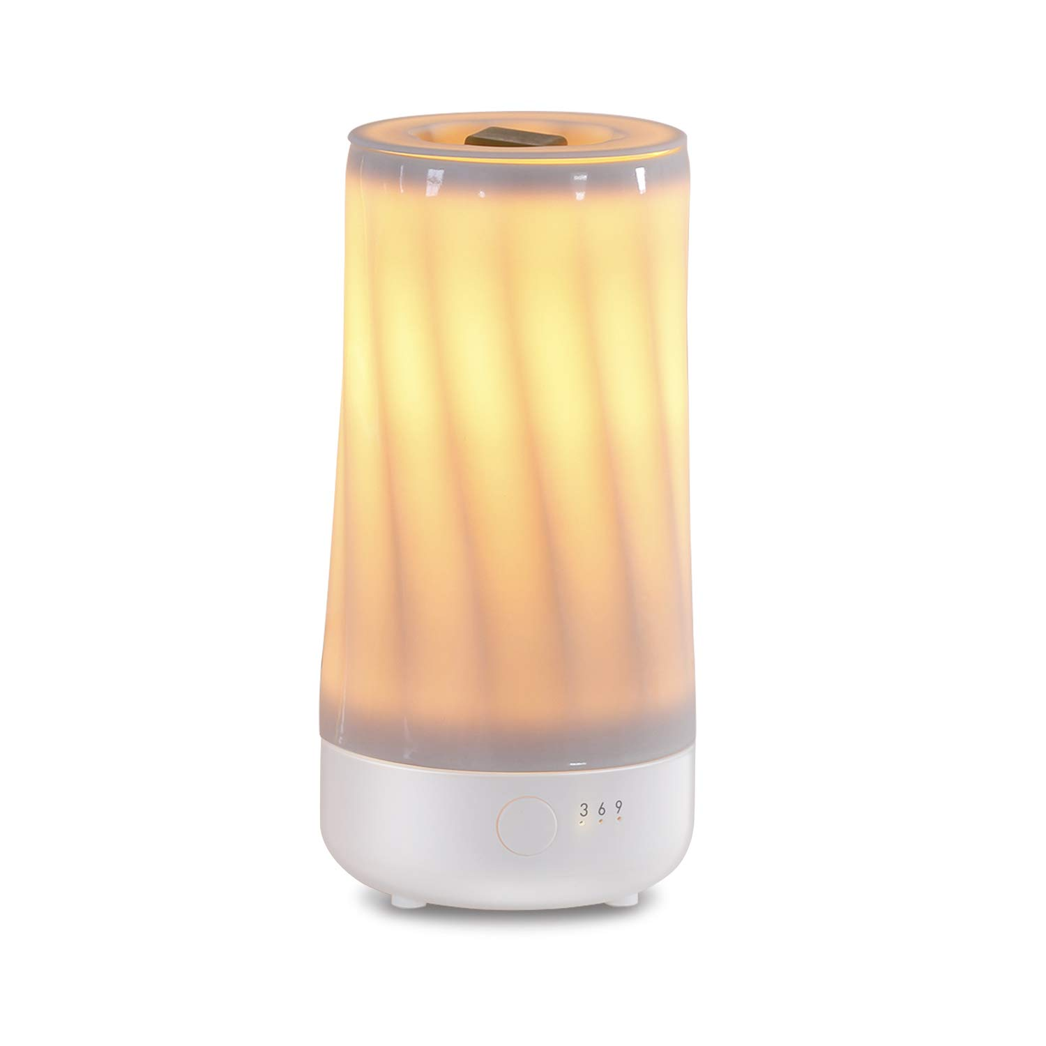 Ceramic Candle Warmer, Electric Wax Melter and Scent Diffuser with Silicone Container and Automatic Timer, 100% Safe, No Flame, Wick or Soot, Decorative Modern Design, The Dancing Flame