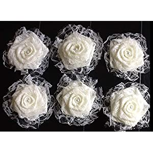 Set of Six Elegant All Lace Flowers with Lace Ruffle and Burlap Back Ivory Champagne White Black Navy Tulle Wedding Centerpiece Aisle Decoration Wreath Table