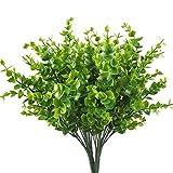 Artificial Shrubs, Hogado 4pcs Faux Plastic Eucalyptus Leaves Bushes Fake Simulation Greenery Plants Indoor Outside Home Garden Office Verandah Wedding Decor