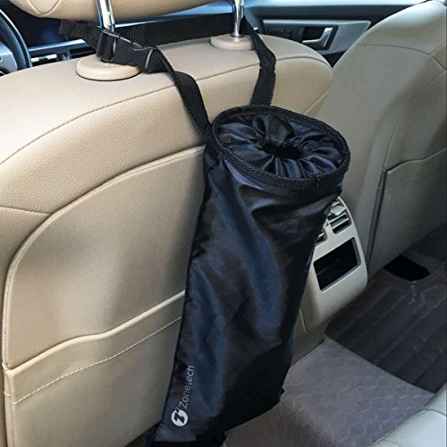 Driver Car Seat Costume (Zone Tech Vehicle Backseat Headrest Litter Bag – Classic Black Premium Quality Black Universal Traveling Portable Car Trash Can)
