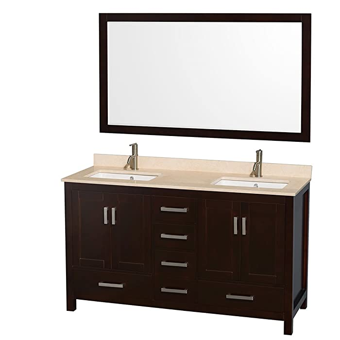 Wyndham Collection Sheffield 60 inch Double Bathroom Vanity in Espresso, Ivory Marble Countertop, Undermount Square Sinks, and 58 inch Mirror