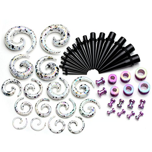 PiercingJ 48 Pieces Acrylic Gauge Kit Spiral Tapers Tunnels and Plugs 12G-1/2