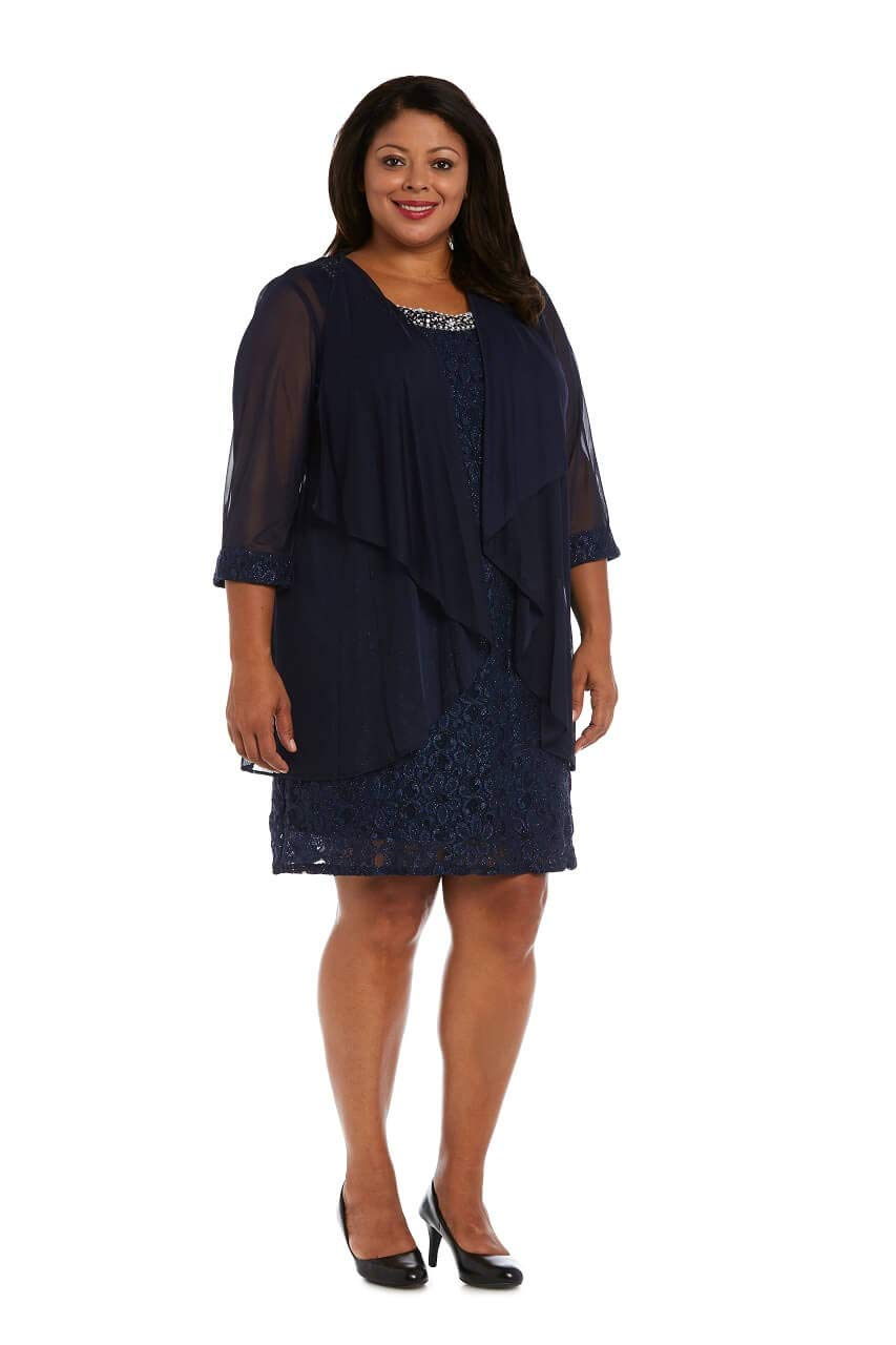 R&M Richards Short Mother of The Bride Plus Size Dress (18W, Navy)